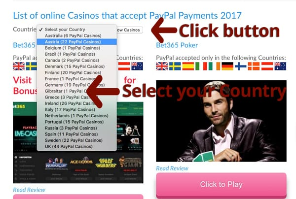 How Select PayPal Casino available in your Country